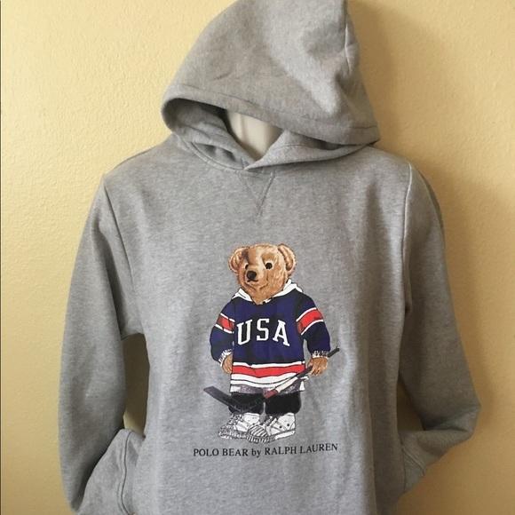 08fdc5c4 Polo by Ralph Lauren Shirts | Mens Polo Teddy Bear Hoodie Usa Hockey ...